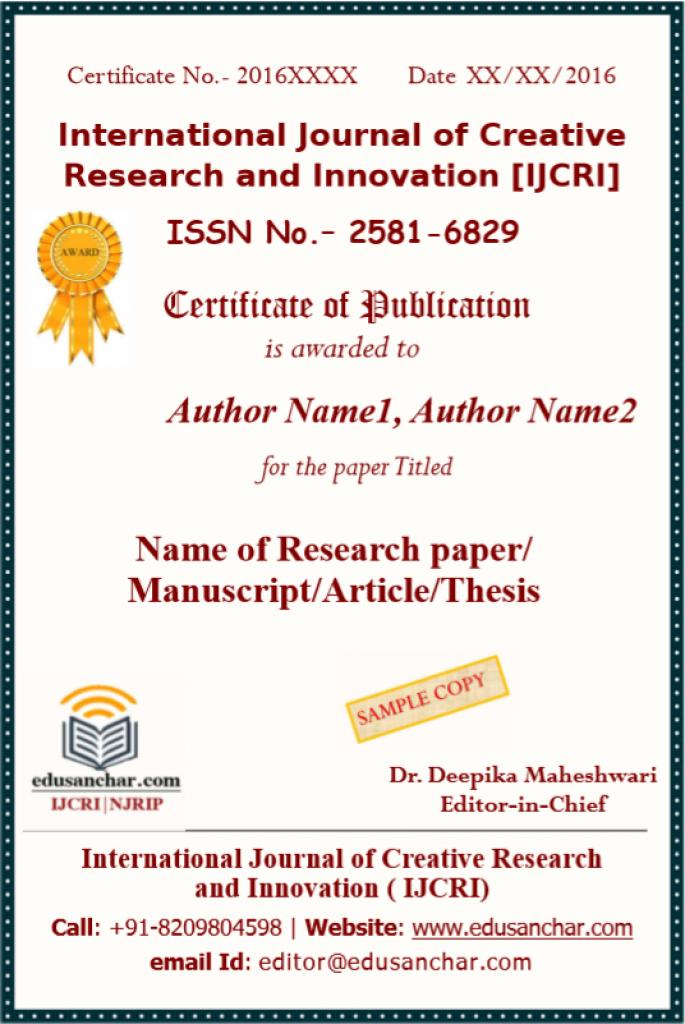 IJCRI Certificate Sample